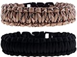 The Friendly Swede Paracord Survival Bracelets - Set of 2 - Easy to Open Clasp (Black/Desert Camo, 6.49 inches / 16.5 cm Wrists)