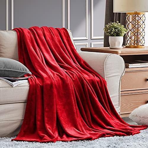 EHEYCIGA Coperta in Pile Coperta di flanella Rosso 130x165 cm Coperta Divano in Microfibra Morbida Accogliente Leggera Coperta da Letto Di Lusso