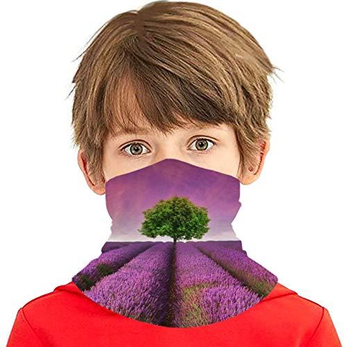 Flower Tree Lavender Kids Face Mask Bandanas Boys Ice Silk Breathable Teen Girl Neck Gaiter