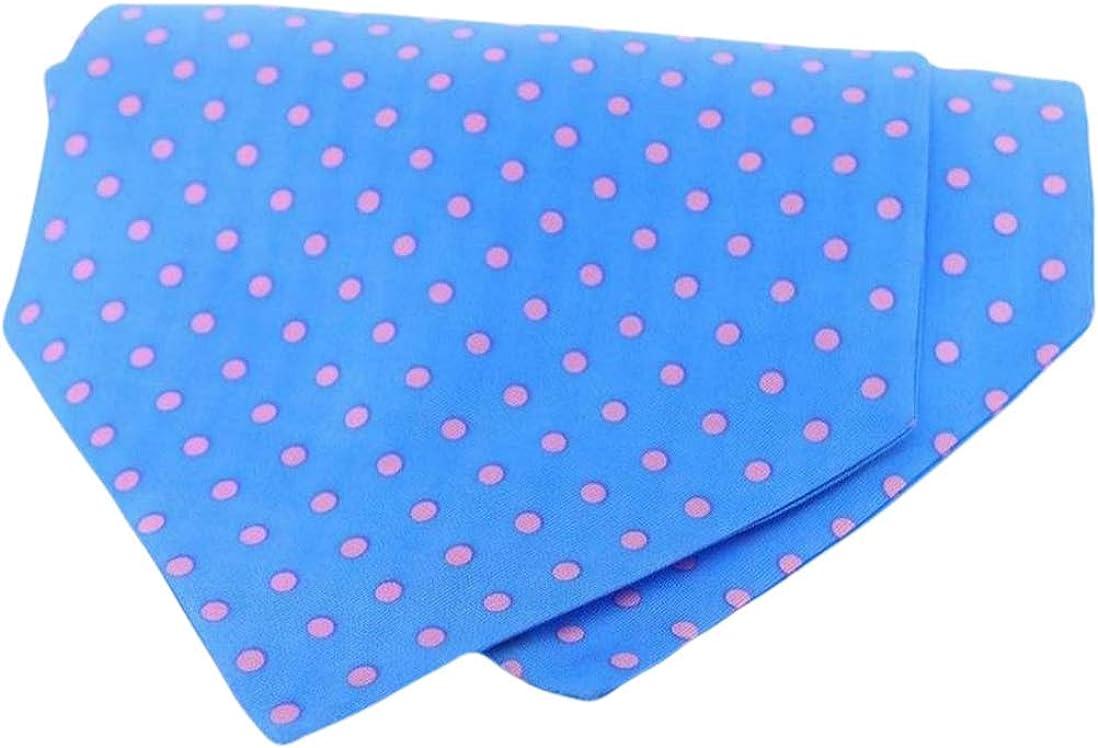 David Van Hagen Mens Polka Dot Silk Twill Cravat - Blue/Pink