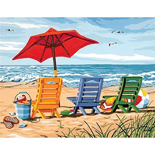 Diy 5D Diamante Pintura Kits Completo Sillón De Playa Seaside Cristal Rhinestone Bordado Punto Cruz Adultos Niños Creative Diamond Painting Pegar Puzzle Para Casa Salón Pared Decor 50X70Cm W3997
