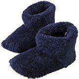 アイリスプラザ ルームブーツ Lサイズ 約 24.5 ~ 26cm ルームシューズ スリッパ もこもこ マイクロミンクファー ふわふわな肌触り 暖房対策 秋冬 洗える 無地 ネイビー
