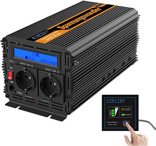 EDECOA Spannungswandler 12v 230v Wechselrichter 2000w mit 2 USB und LCD Wechselrichter modifizierte Sinuswelle mit Multiprotektion 12v 220v 2000w