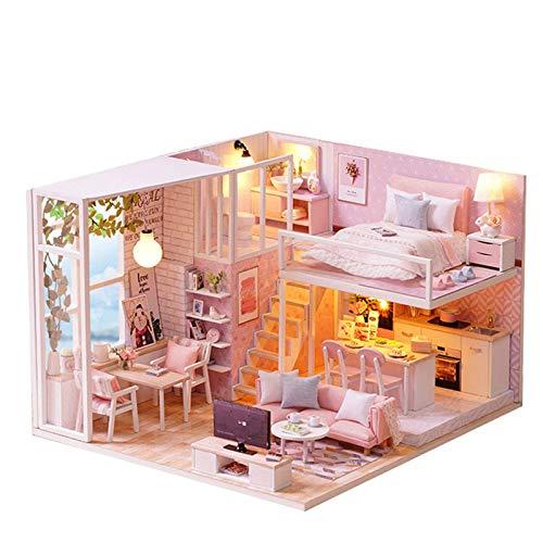 DIY Mini Casa de muñecas Kit de Muebles de Madera / casita Hecha a Mano / Hut Casa pequeña con Cubierta de Polvo y Caja de música Casa de muñeca Creativa Juguetes para niños Regalo