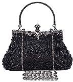 Selighting Cartera de Mano Fiesta Vintage, Clutch Mujer Elegante Bolso de Noche Bolsos de Embrague con Cuentas para Fiesta Cóctel Ceremonia Boda Novia (Negro)