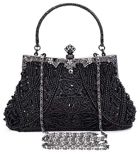 Selighting Abendtaschen Damen Vintage Clutch Tasche mit Perlen Elegant Handtasche Umhängetasche für Party Hochzeit Bankett (Schwarz)