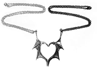 Demon Dragon Wings Heart Matching Pendant Necklace for Couple Lover 2 Pieces Punk Gothic Jewelry Gift