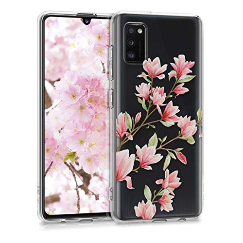 kwmobile Hülle kompatibel mit Samsung Galaxy A41 - Hülle Silikon transparent Magnolien Rosa Weiß Transparent