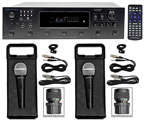 Technical Pro H12X500UBT 6000w 6-Zone 12-Speaker Bluetooth Home Theater Receiver Receiver Bundle with Rockville RMC-XLR High-End Metal DJ Handheld Wired Microphone w (2) Cables