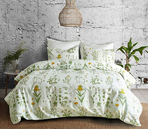 Duvet Cover Set Single Green and White Yellow Flowers Plants Pattern with Pillowcase Bedding Set with Zip Closure 100% Lightweight Microfiber