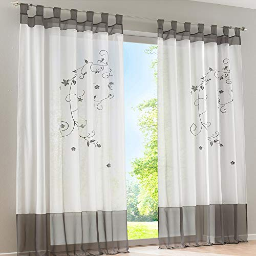 laamei 1Pc Voile Cortina Translúcidas Visillos Cortas con Bordado Floral Decoración para Ventanas Habitaciones Dormitorios Salones Gris, 140cmx245cm