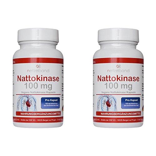 Nattokinase - 2.000 FU - 100 mg Nattokinase - für 6 Monate - 180 vegetarische Kapseln Netzeband (2 Packungen a 90 Kapseln)