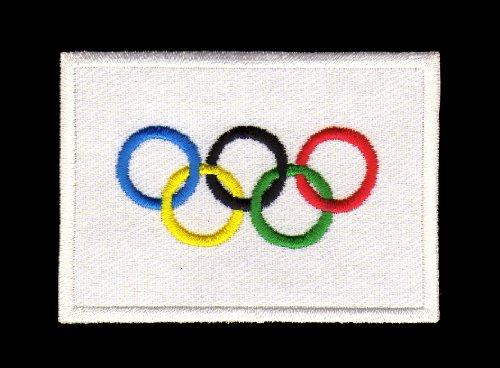 Aufnäher Bügelbild Iron on Patches Applikation Flagge Olympiade Olympia Olympische Ringe Sport