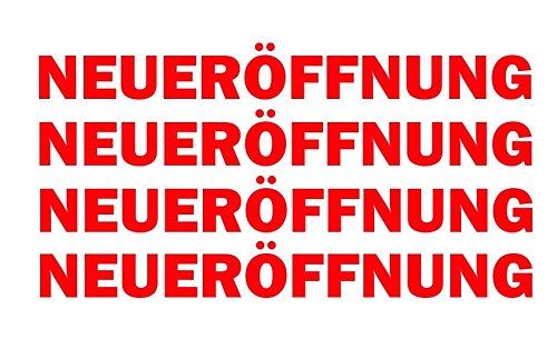 Finest-Folia 4 x Schriftzug NEUERÖFFNUNG Rot Schaufenster Aufkleber Laden Geschäft Werbung KX046
