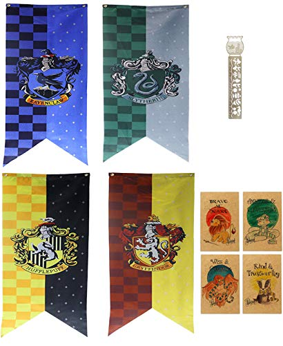 TPOTTER 4pcs[150X45CM] cumpleaños Banners y Banderas para Harry Party Decoraciones Potter Regalos Suministros Flag Banner decoración