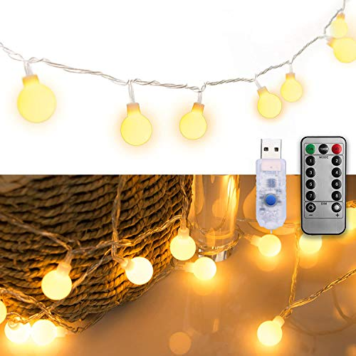 LED String Lights, Garland, 5M, 50 LED Lights, Fairy Lights, Decorative Lights, Christmas Tree Lights, Rainproof, (Light Bulb Color/Remote Controller, USB Type)