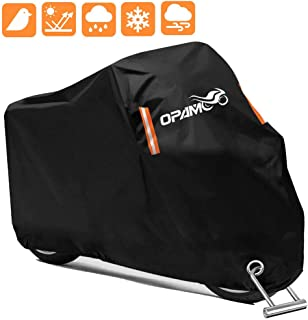 Motorcycle Scooter Cover Waterproof Outdoor - Large Medium XL 250cc 150cc 50cc Scooter Shelter for Harleys All Weather Motorbike Protection with Lock Holes Tear-proof Heavy-Duty (orange)