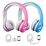Kids Wireless Headphones Bluetooth, 15 Hours Play time, Scratch Proof Safe 93db Volume Limited Yusonic Kid Headphones with Mic for Cell Phones TV Toddler Tablet Game School Boys Girls (E1 Pink+Blue)