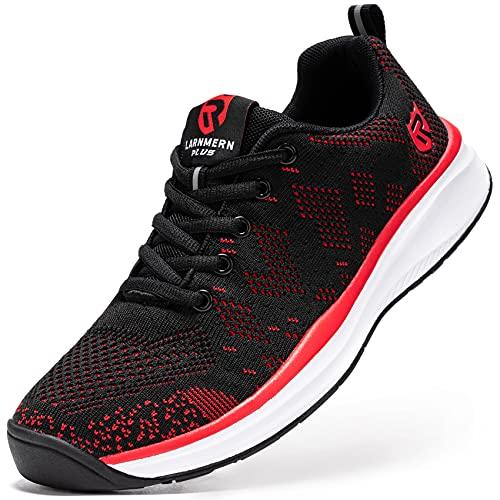 LARNMERN PLUS Zapatillas de Running para Hombre Antideslizante Zapatos para Correr y Asfalto Aire Libre y Deportes Calzado Ligero Transpirable(Rojo 47)