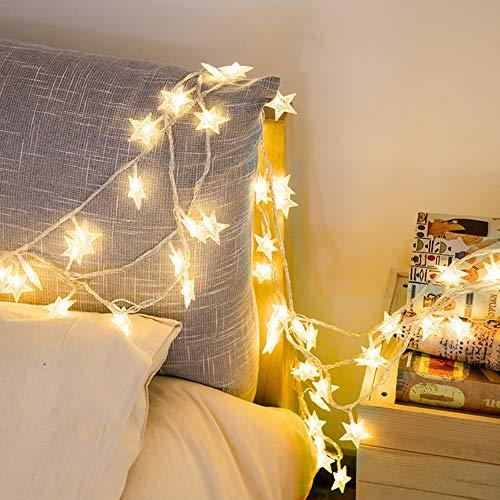 Nulala - Cortina de luces con forma de estrella, funciona con pilas, para Navidad, bodas, cumpleaños, vacaciones, fiestas, interiores y exteriores, 40led, 6 m