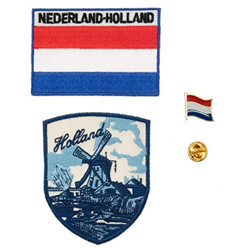 A-ONE 3 Stück – The Netherlands Windmühlen-Abzeichen + Holland Aufbügler + Nertherlands Flagge Metall Reversnadel Reise Stadt bestickt Abzeichen Emblem Pin