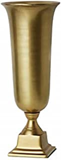 Serene Spaces Living Large Gold Pedestal Urn - Stylish Tapered Urn Vase Works Perfectly for Cut Flowers at 18