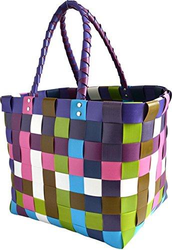 Gear Up Große Wasserabweisende Einkaufstasche - Henkeltasche - Tragetasche - Tragekorb - geflochtener bunter Strandkorb Farbe Classic/Sweet