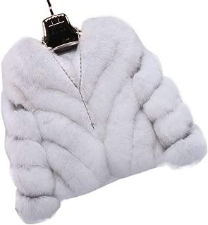 Weixinbuy Women Luxury Winter Warm Fluffy Faux Fur V Collar Short Coat Jacket Outerwear