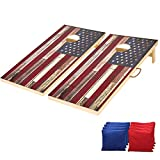 Briever Regulation Size Solid Wood Cornhole Set Vintage American Flag Printed Cornhole Game, Included Two 4' x 2' Premium Cornhole Boards, 8 Cornhole Bean Bags, Toss Games for Indoor Outdoor