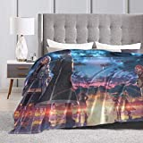 Sword Art Online All Protagonists Sunset Ultra Soft Sherpa Flannel Fleece Throw Blankets For Bed/Couch/Sofa/Living/Room/Bedroom, Warm Blanket Coral Plush Throw For Kids Adults Women Men 80''x60''