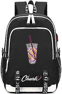 Mochila Recargable USB para Niños Y Niñas con Salpicaduras De Café Helado Charli D'Amelio Mochila Recargable por USB Mochila De Viaje Al Aire Libre Trend Student Bag (44CM × 30CM × 15CM)