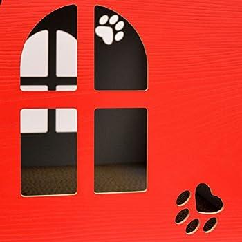 EYEPOWER Niche à Chien Dôme pour Chat 41x41x41cm Taille Moyenne M Maison boîte carrée avec Couvercle rembourré pour s'asseoir Repose-Pied Rouge