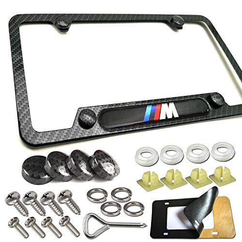 Carbon Fiber License Plate Frame-1Pack Black Aluminum License Plate Frames for BMW Metal Printing Carbon Fiber Pattern, 3D M Logo for BMW License Tag Frame with Stainless Steel Plate Screws & Caps Set