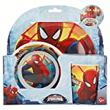 SET MELAMINA 3 PCS. (PLATO, CUENCO Y VASO) SPIDERMAN RED WEBS