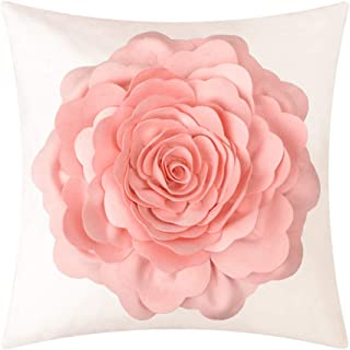 JWH Handmade 3D Peony Flower Accent Pillow Case Cushion Cover Stereo Decorative Shell Cotton Canvas Sham Home Bed Living Guest Room Office Chair Decor Square Protector Gift 18 x 18 Inch Pink
