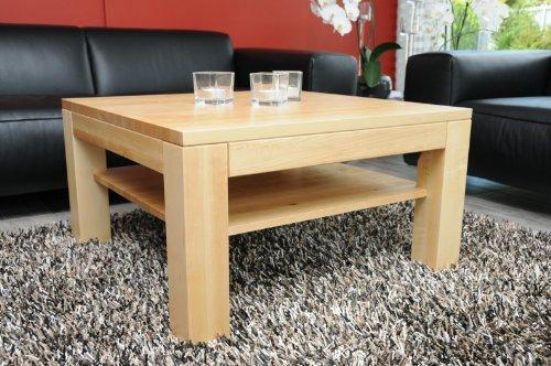 Holz-Projekt-Summer Couchtisch-Tisch mit Ablage Zarge bündig Ahorn/Echtholz/Massivholz/Höhe 48 cm (80x80)
