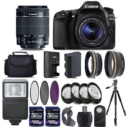Canon EOS 80D Digital SLR Camera + 18-55mm IS STM Lens +...