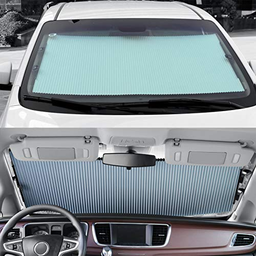 Retractable Windshield Sun Shade for Car, Blocks UV Rays Sun Visor Protector,...