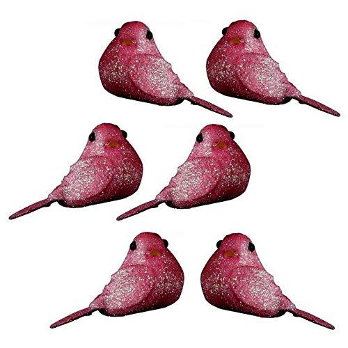 Lot de 8 Mini Oiseaux pailletés Rose Fuchsia, Long. 4 cm x larg. 2,5 cm, à Poser ou Coller pour Une déco Festive