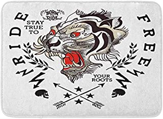 Amknu Japan Tiger Japanese Skull Tattoo Asian Animal Retro Background Pattern Flannel Indoor Floor Mat Bath Rugs Prevent Shifting and skidding Super Absorbent 3D Printing 60x40cm