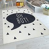 Paco Home Kinderteppich Kinderzimmer Jungen Babyteppich Waschbar Spruch Trend Schwarz Weiß, Grösse:120x160 cm