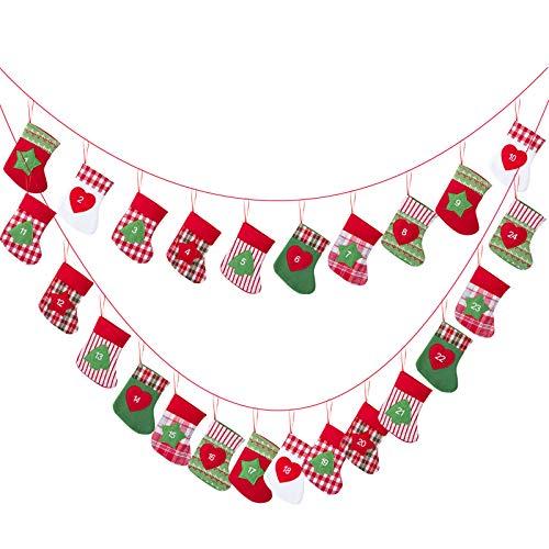 Kesote Calendario de Adviento de Navidad en Forma de Calcetín 24 Bolsas de Fieltro Decoración Navideña para el Hogar