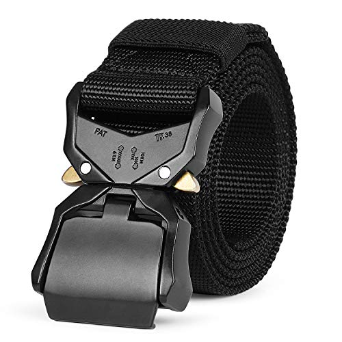 For Sale! WERFORU Tactical Belt, Military Style Webbing Riggers Nylon Belt with Heavy-Duty Quick-Rel...