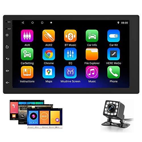 Hikity Double Din Android Car Stereo 7 Inch Touchscreen Car Radio Bluetooth FM Radio, Support GPS Navigation WiFi Connection, Mirroring Link with Smart Phone, 2021 New Head Unit + Backup Camera