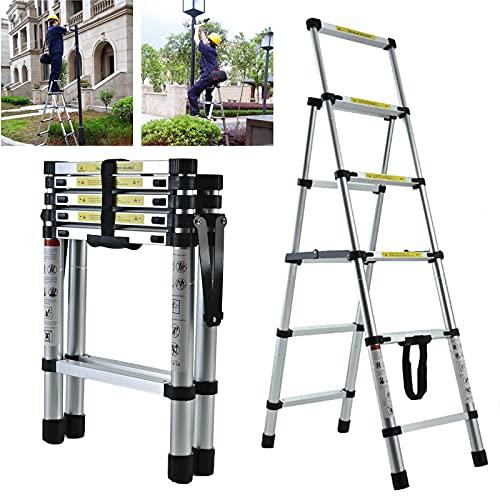 Step Ladder, 4 + 5 gradini Teles in alluminio Piegatura di una scala del telaio, Sgabello per passo portatile, Stepladder Milti-Fuction Stepladder Anti-slip Scadute robusto antiscivolo e ad ampio peda