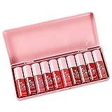 Juego de lápices labiales, 10 piezas de humectante liviano, sedoso, suave, mate, brillo, labio líquido, lápices labiales rojos pigmentados larga duración juego regalo mujeres lápiz labial cosméticos