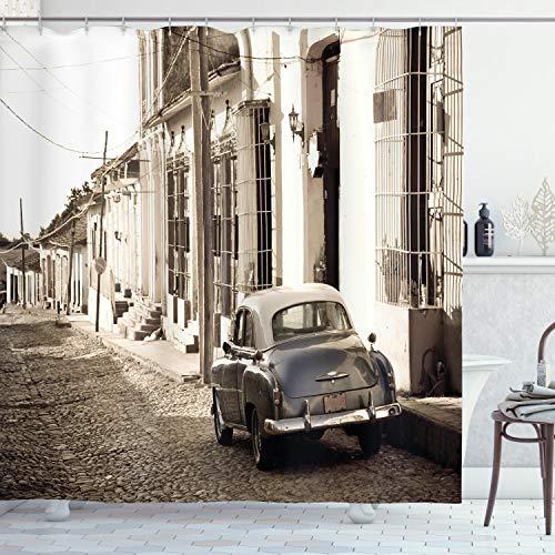 ABAKUHAUS Oldtimer Duschvorhang, Old Car Cuba Street, mit 12 Ringe Set Wasserdicht Stielvoll Modern Farbfest & Schimmel Resistent, 175 x 200 cm, Beige