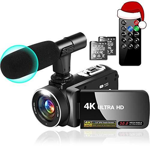 Videocamera 4K Videocamere 30MP 18X Videocamera Digitale per Vlogging con Luce completa a LED Videocamere Touchscreen IPS Da 3,0'con Microfono, 2 Batterie, Anti-Shake