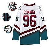 Conway # 96 Ducks Movie Camiseta de Hockey sobre Hielo Jersey de Hockey Hombre Puck Ropa Deportiva Mighty Uniform White S-3XL-XL
