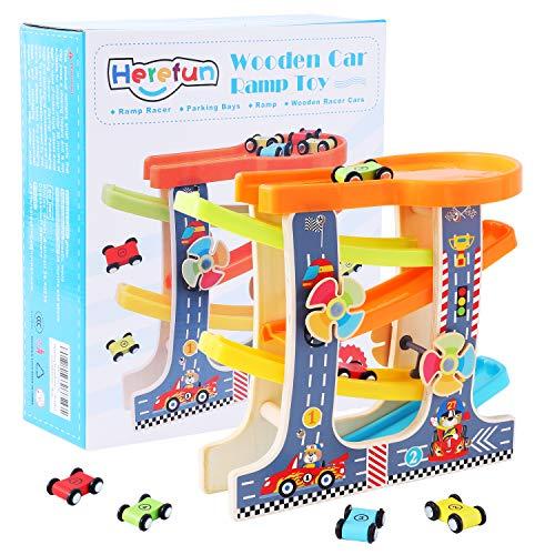 Herefun Kugelbahn Autorennbahn Holz mit 4 Fahrzeuge, Auto Rennbahn Kinder Holz, Autorennbahn Holz Spielzeug Kinderspielzeug Geburtstaggeschenke ab 3 Jahr Jungen und Mädchen